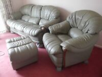 Light Green Leather 3 Seater Settee, Armchair and Footstool