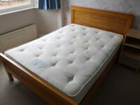 Oak Double Bed Frame and Comfortable Double Mattress For Sale