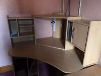 Light wood corner desk, perfect for computer