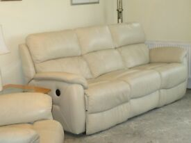 Leather 3-seater sofa and armchair with power recliners