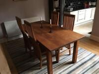 Solid Hardwood Dining Table and 4 Chairs