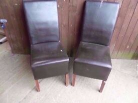Dining Chairs 2 x High Back Leather a few Marks Delivery Available