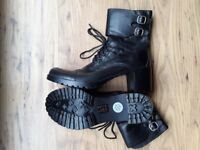 Nina Nina black lace up ankle boots. Two buckles. Size 6. Brand new. Never worn. No scuffs.