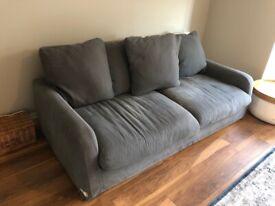 Loaf floppy joe three seater sofa, brushed cotton gun metal