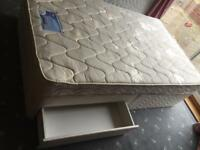 Silent night 4ft small double bed with 2 draws and clean mattress in excellent condition