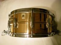 """Ludwig L556 seamless bronze Supersensitive snare drum 14 x 6 1/2"""" - Chicago - '83-'84"""