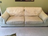 4 Seater Cream leather sofa and arm chair
