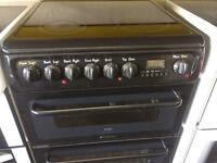 Black Hotpoint 60cm ceramic hub electric cooker grill & double fan oven good looking with guarantee