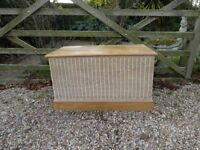 SOLID WOOD --CHEST/ TRUNK/ OTTOMON/ BLANKET BOX ---WITH WICKER SURROUND---LARGE SIZE ----
