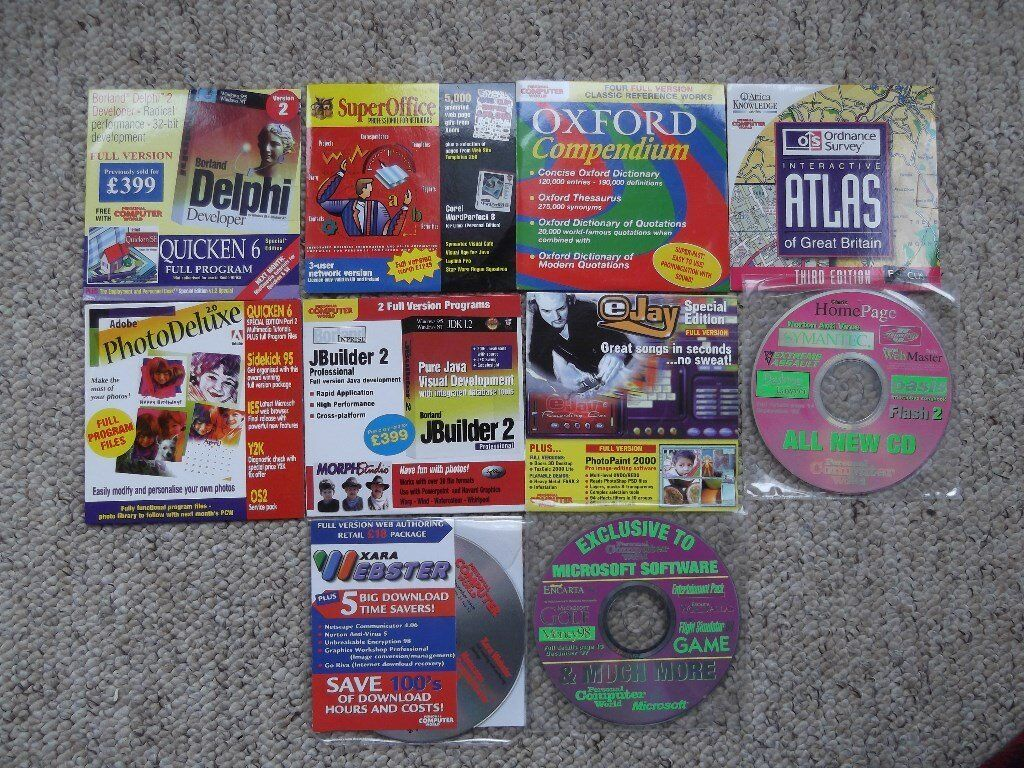 Personal Computer World magazine - 10 cover discs from 1998/99 incl. GB Atlas & Oxford dictionaries