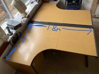 Large curved office desk
