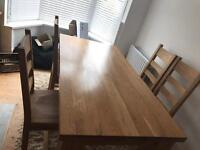 Solid oak dining table plus 4 chairs