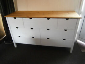 Solid Pine & Ivory White Painted 7 Deep Drawer hobby / Craft / Storage Sideboard