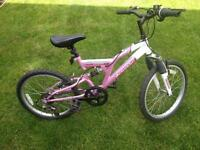 "Girls mountain bike 20"" with dual suspension"