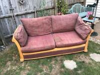 Sofa, sleigh style, large. claret/ brown and wood. v comfy,