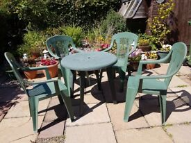 Garden Table and 4 Chairs green plastic