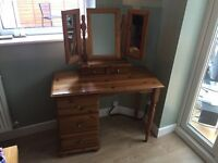 3 drawer pine dressing table with folding vanity mirror
