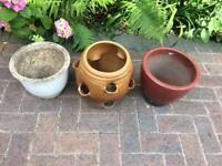 3x ceramic plant pots