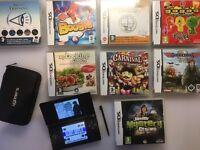 Nintendo DS Lite Bundle + 8 Games including Professor Leyton + Case + Charger - Excellent Condition
