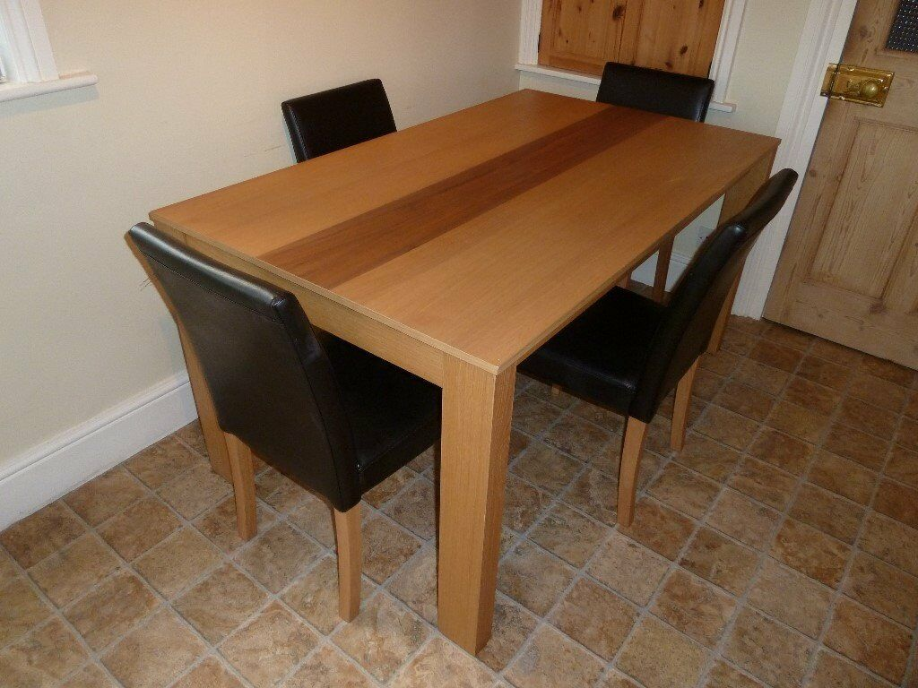 Excellent Condition Oak Walnut Dining Table And 4 Dalton Chairs Originally From Next