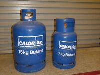 Two gas bottles,Full 15kg and empty 7kg