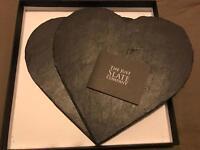2 slate heart shaped serving boards