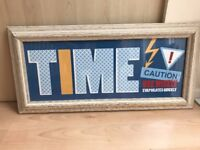 """TIME CAUTION USE WISELY EVAPORATES QUICKLY Wall Art Print 23""""(58cm) x 11""""(28cm)"""