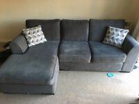 Grey corner sofa, 1 year old, perfect condition