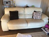 Three seater cream leather sofa SOLD