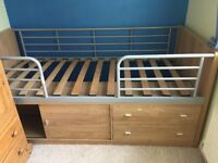 3ft Single - Cabin bed in oak colour and in very good condition