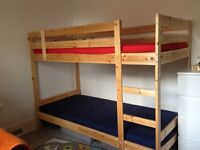 Bunk bed frame pine with or without mattresses, 10 months of use