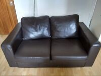 2 seater sofa - brown leather
