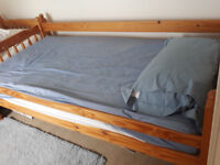 Set of 2 pine bunk beds with mattresses, FREE to good home!