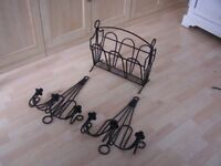 Wrought Iron Candle Sconces and Magazine rack