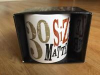 Large 30th birthday mug in box