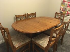 Old creamery solid table & 6 chairs - excellent condition, needs to be seen to appreciate