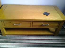 Oak coffee table with drawers, £35