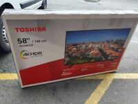 Brand new boxed TOSHIBA 58 INCH Smart 4k UHD HDR LED TV with apps