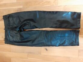 Men's leather motorcycle jeans