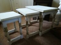 Set of side tables, shabby chic