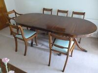 Traditional dining room table, 8 chairs and sideboard