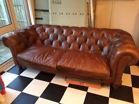 Large Brown Leather Chesterfield