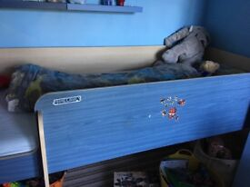 Blue and wood effect single midi sleeper bed. Used but good condition. Does not include mattress.