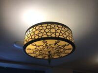 Turkish style ceiling chandelier finished with mosaic shapes.