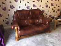 2 seat + Single brown leather sofa