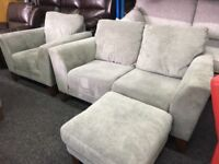 NEW / EX DISPLAY Grey John Lewis Grand 2 + 1 Seater Sofas + Footstool