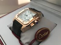 New Swiss Cartier Santos Golden Case Leather Strap CHRONOGRAPH Watch