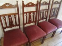 1/2 PRICE 4 Arts & Crafts Oak Sprung Dining Chairs Your Courier or Collection