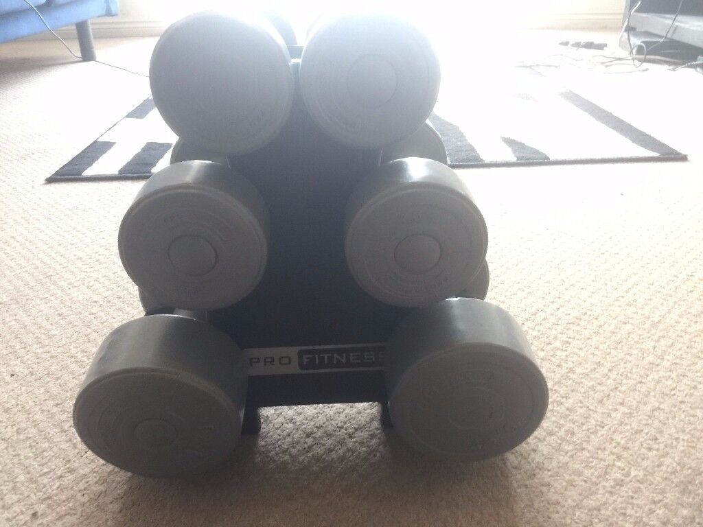 6 dumbells with weight stand