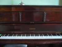 Upright overstrung piano for sale with stool